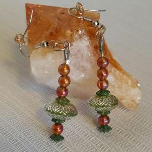 Earrings Green Orange Handmade